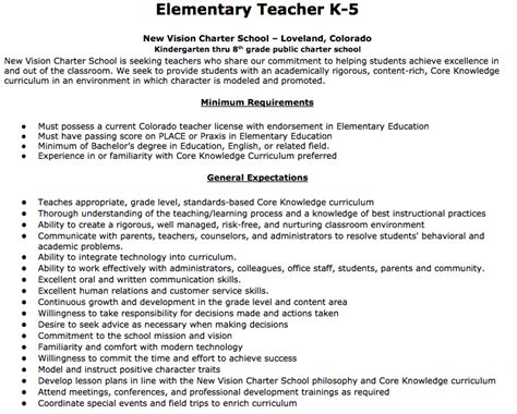 Elementary Teacher Job Description Elementary Teacher K-5