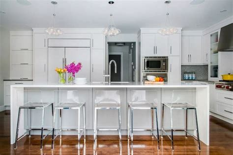 acrylic bar stools white quartz countertops