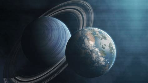 Planet Earth and Saturn in the universe - HD wallpaper ...