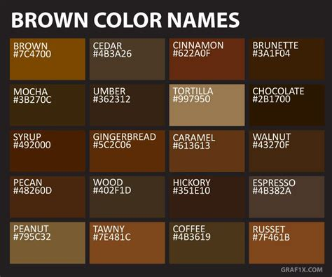 Brown Hair Color Names by Brown Color Names Ngo Interior In 2019 Color Brown