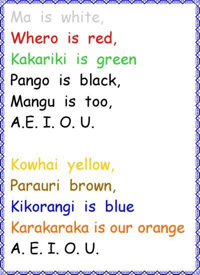 color song in maori colors song for te reo maori for