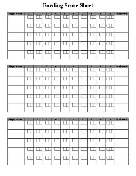 Bowling Score Sheet Sample Free Download