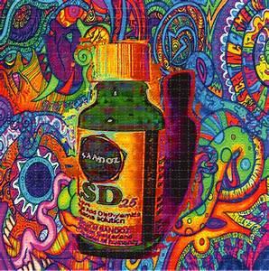 Sandoz Vial LSD 25 Color BLOTTER ART perforated acid art