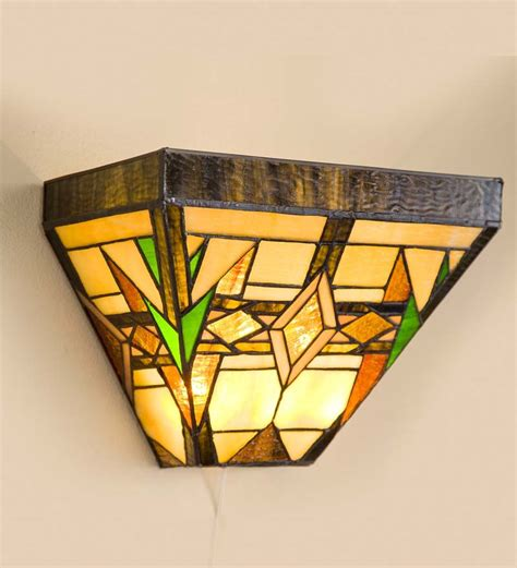 stained glass wireless wall sconce arts crafts design