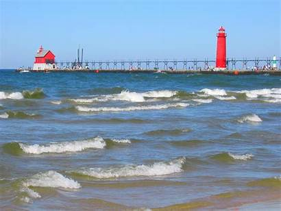 Michigan Lake Lakes Waves Lighthouse Area Wide