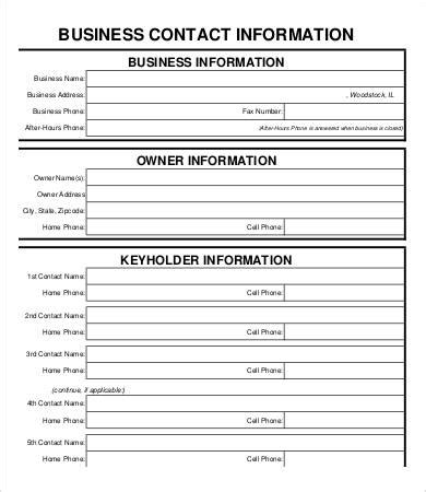 Business Contact Information Form Template