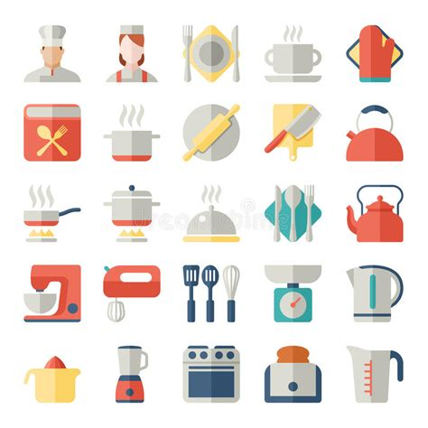 icon kitchen design set of kitchen icons in flat design stock vector 1762