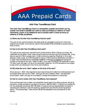 If your card is reloadable, you can find cash reload locations, add money online or reload your card automatically with free1 direct deposit. Aaa Debit Card - Fill Online, Printable, Fillable, Blank   PDFfiller
