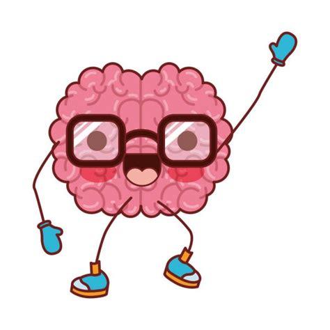 Desenhos animados de cérebro com óculos e expressão de
