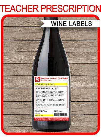 teacher prescription wine bottle labels template funny