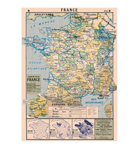 Poster Carte De Vintage affiche p 233 dagogique vintage carte de