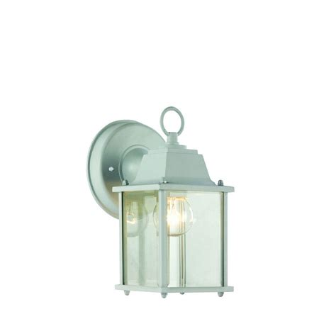 bel air lighting wall mount 1 light outdoor white coach lantern with clear glass 40455 wh the