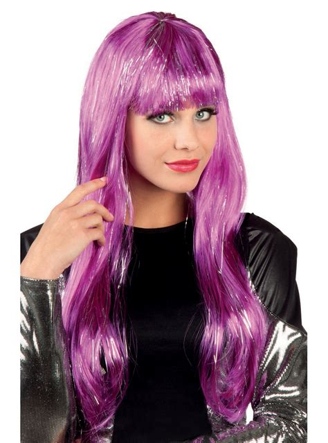 womans purple wig  highlights