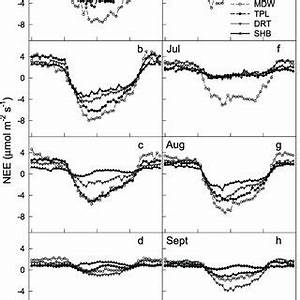 Seasonal change in daily carbon fluxes (g C m −2 yr −1 ...