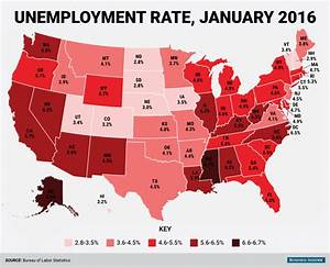 State Unemployment Map  January 2016