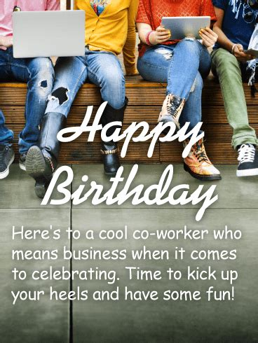 cool  worker happy birthday wishes card