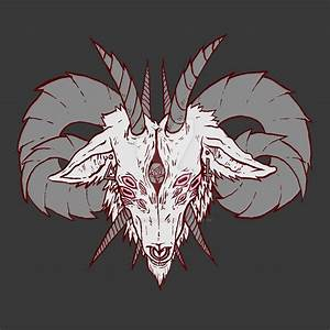 Drawn demon goat - Pencil and in color drawn demon goat