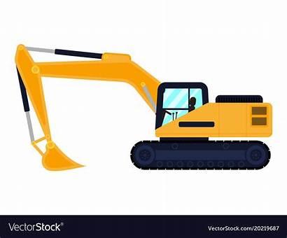 Excavator Cartoon Vector Machine Building Vectorstock Royalty