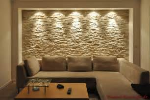 wandgestaltung wohnzimmer stein riemchen caesar ocre bilder