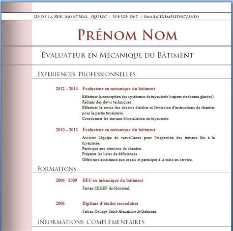Modèle Cv Gratuit Word Télécharger by Exemple De Cv De Professionnel Sle Resume