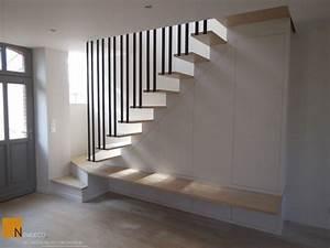 Placard Escalier : escalier sur mesure escalier contemporain garde corps placard sur mesure on range ~ Carolinahurricanesstore.com Idées de Décoration