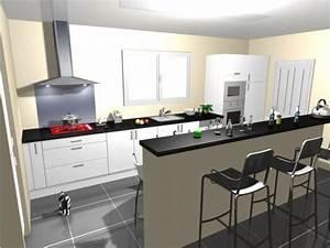 cuisine carrelage noir et blanc With modele cuisine noir et blanc