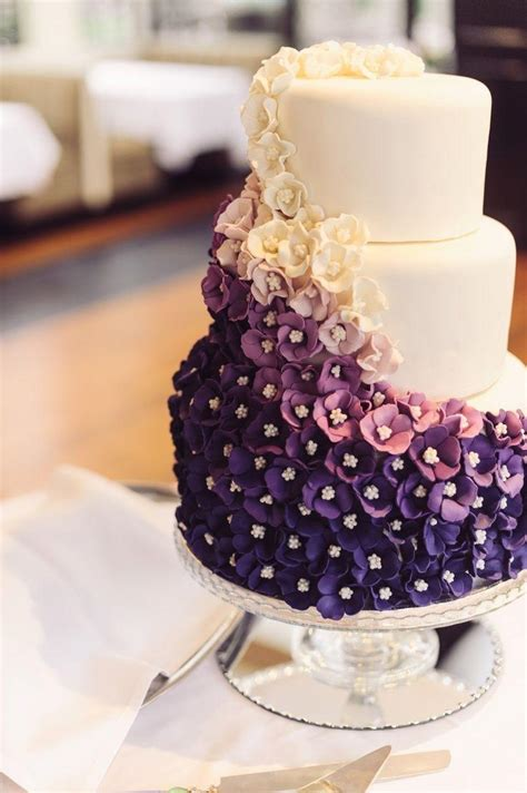 Purple Wedding Beautiful Ombre Purple Wedding Cake