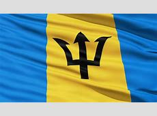 Creased Barbados Satin Flag With Visible Wrinkle And Seams