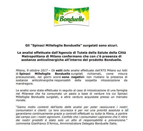 bonduelle si鑒e social spinaci surgelati bonduelle i risultati delle analisi