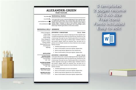 Resume Template 2 Pages by Resume Template 1 2 Pages Cover Letter Template