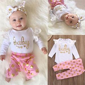 Infant Newborn Baby Girls Romper Playsuit+Pants Jumpsuit Bodysuit Clothes Outfit | eBay