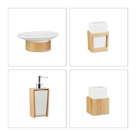 badezimmer set  teilig bambus keramik bad set