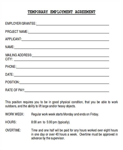 temporary contract template 12 sle employment agreements sle templates