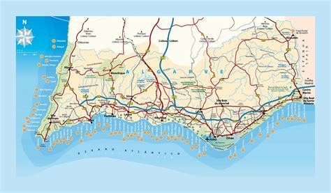 large map  beaches  algarve algarve portugal