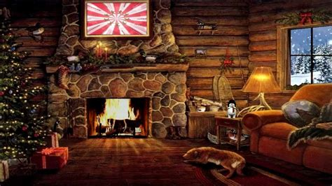 Animated Yule Log Wallpaper - cottage with yule log fireplace and snow