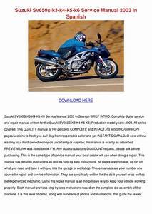 Suzuki Sv650s K3 K4 K5 K6 Service Manual 2003 By Trudie Covalt