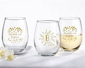 personalized milestone gold 9 oz stemless wine glass my With wine glass wedding favors
