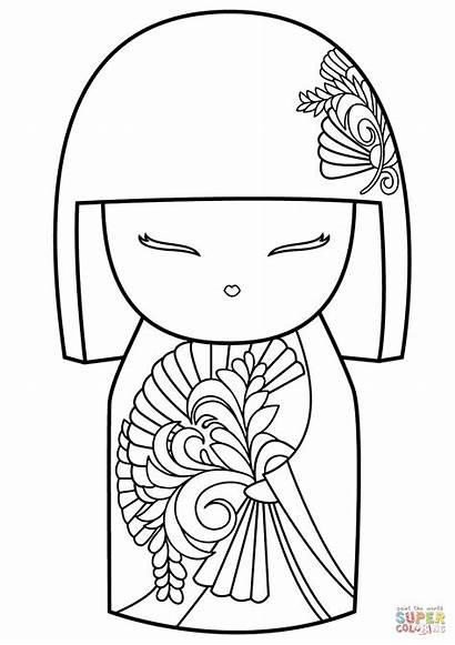 Coloring Doll Pages Dolls Kokeshi Kimmidoll Japanese