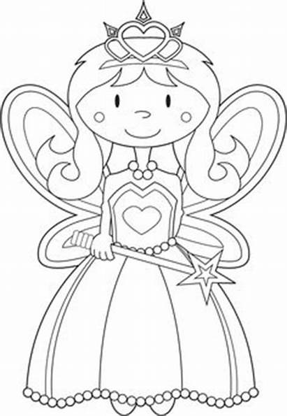 Princess Coloring Pages Printable Clipart Fairy Colouring
