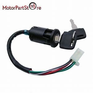 Motorcycle Ignition Barrel Key Switch 4 Wire Universal Quad On  Off Car Motorbike
