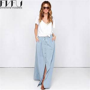 New Fashion 2017 Spring Skirt Women Single breasted Denim ...