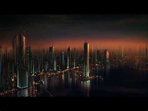 futuristic cityscape wallpaper hd wallpapersafari