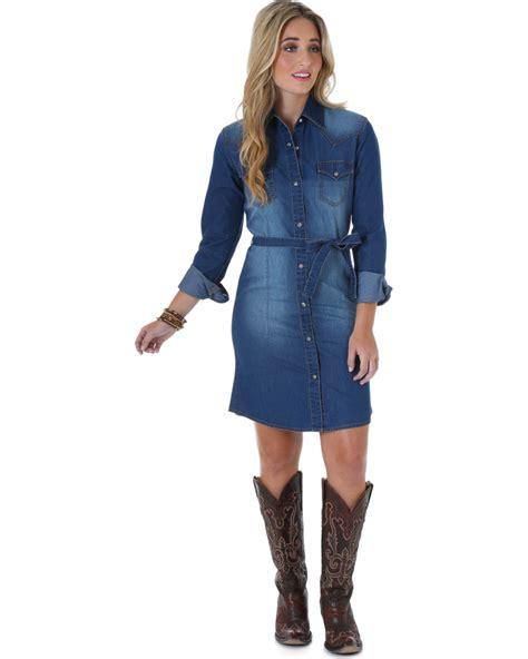Wrangler Long Sleeve Dark Denim Shirt Dress - Country ...