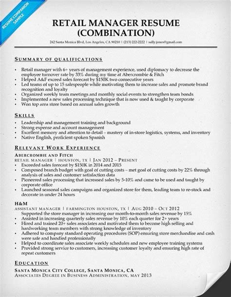 Summary Of Qualifications For Retail by Retail Manager Resume Sle Writing Tips Resume Companion
