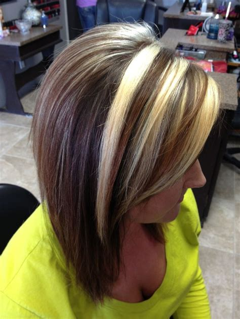 dark brown hair  chunky blonde highlights chunky