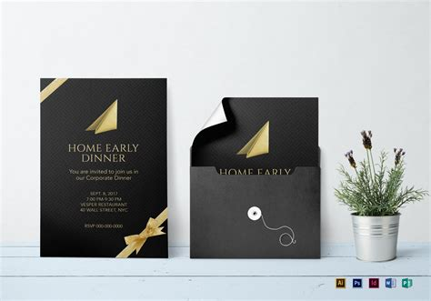 Corporate Dinner Invitation Design Template in PSD Word