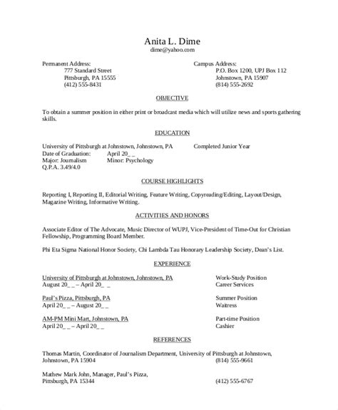 High School Resume Objective by 8 High School Student Resume Sles Sle Templates