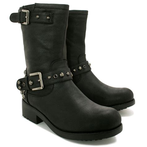biker boots for womens flat stud buckle calf biker boots size