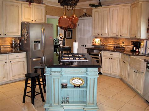 french country kitchen  rustic blue island hgtv