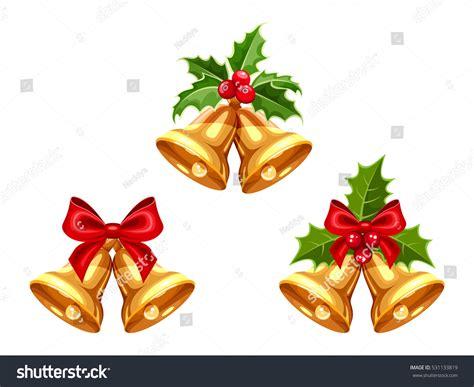 Set Vector Gold Christmas Bells Bows Stock Vector